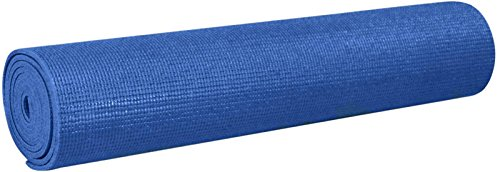 YogaAccessories 1/8'' Lightweight Classic Yoga Mat and Exercise Pad - Dark Blue