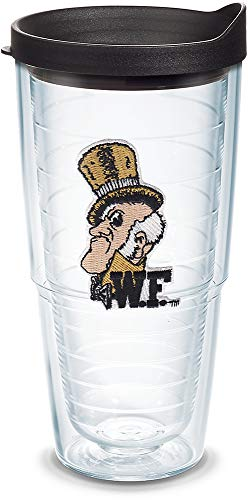 Tervis 1075167 Wake Forest Demon Deacons College Vault Tumbler with Emblem and Black Lid 24oz, Clear