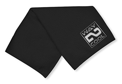 Way 2 Cool Black Mesh Cooling Towel, Running, Swimming, Yoga, Fitness, Pilates, Golf
