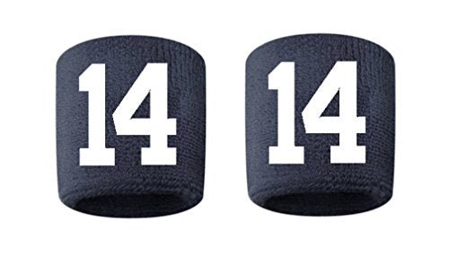 #14 Embroidered/Stitched Sweatband Wristband NAVY BLUE Sweat Band w/ WHITE Number (2 Pack)