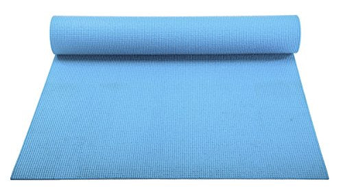 YogaAccessories 1/8'' Lightweight Classic Yoga Mat and Exercise Pad - Light Blue