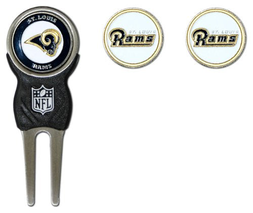 Team Golf NFL Los Angeles Rams Divot Tool with 3 Golf Ball Markers Pack, Markers are Removable Magnetic Double-Sided Enamel