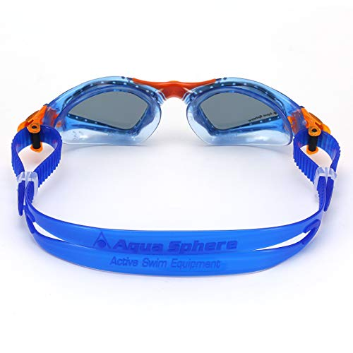 Aqua Sphere Kayenne Junior Swim Goggles with Smoke Lens (Blue/Orange). Swimming Goggles for Kids.
