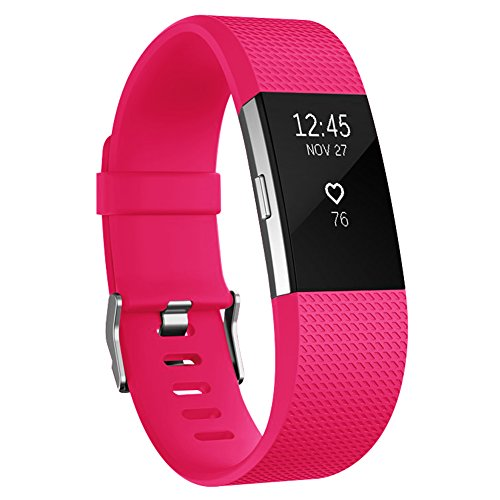 AK Fitbit Charge 2 Bands, Classic Edition Adjustable Comfortable Replacement Wristbands for Fitbit Charge 2 Heart Rate [No Tracker] (Fushcia, Large)