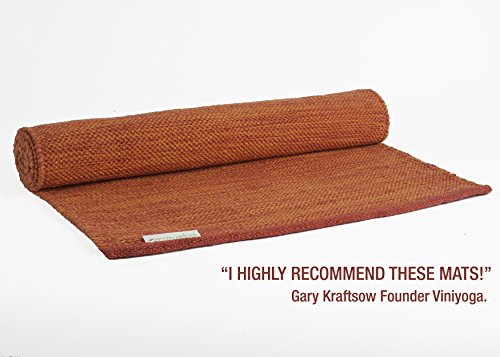 "Yogasana Yoga Mats Thick Yoga mat hot Yoga mat for Women - 100% Cotton Eco-Friendly | The More You Sweat - The More You Grip! | 24"" x 72"" 7 Inspiring Colors Fire Orange Rug"