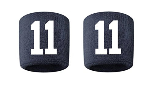 #11 Embroidered/Stitched Sweatband Wristband NAVY BLUE Sweat Band w/ WHITE Number (2 Pack)