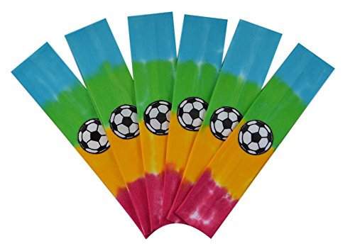 Soccer Team Headbands with Soccer Ball Patch (Set of 6) By Funny Girl Designs - Many Colors Available! (Rainbow Tie Dye)