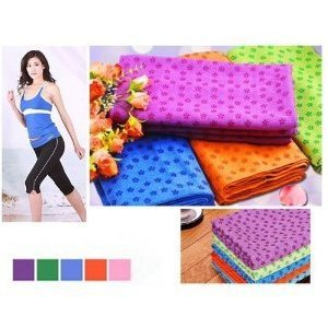 "Angelbeauty Microfiber Non Skid Yoga Towel Yoga Mat 24""X72"" With Carry Bag + Gift Box (Purple)"