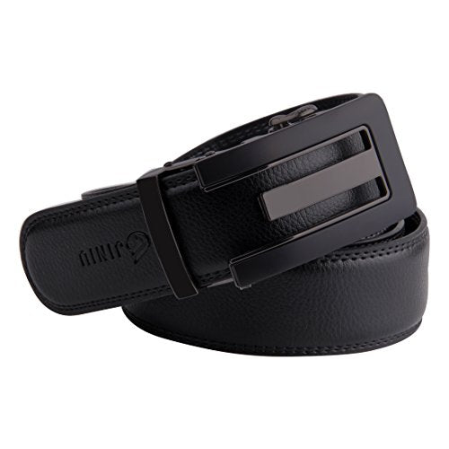 JINIU Men's Leather Belt Automatic Buckle 35mm Ratchet Dress Black Belts Boxed KT2 One Size