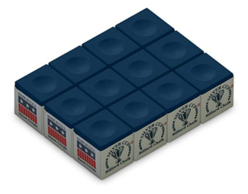 Silver Cup Billiard/Pool Cue Chalk Box, Blue, 12 Cubes