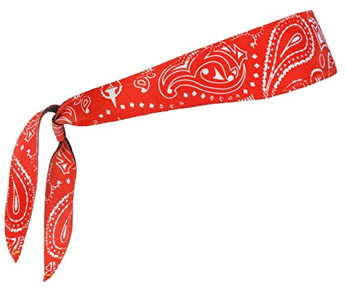 Halo Headband Sweatband Tie Paisley Red