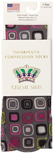 Celeste Stein Therapeutic Compression Socks, Grey Dot Art, 15-20 mmhg, .6 Ounce