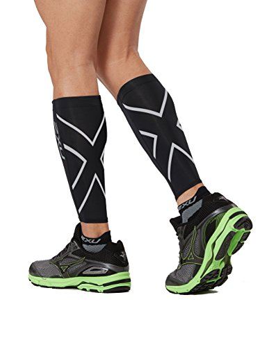 2XU Compression Calf Guards, Black/Black, Large