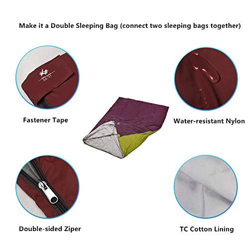 BESTEAM Warm Weather Sleeping Bag, Waterproof, Lightweight, Great Adults & Kids, Family Camping, Backpacking, Traveling, Hiking, Outdoor Activities, Spring, Summer & Fall(Claret Red)
