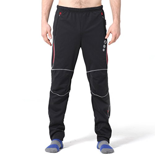 "4ucycling Windproof Athletic Pants for Outdoor and Multi Sports L-promise, WEIGHT-140-165Lbs HEIGHT-56""-58"" L, Black&Red"