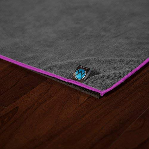 Youphoria Hot Yoga Towel, Non Slip, Super Absorbent, Plush Microfiber Yoga Mat Towel for Hot Yoga, Bikram and Yoga Mat Grip, Washable, 24 inches x 72 inches, Gray Towel/Pink Trim