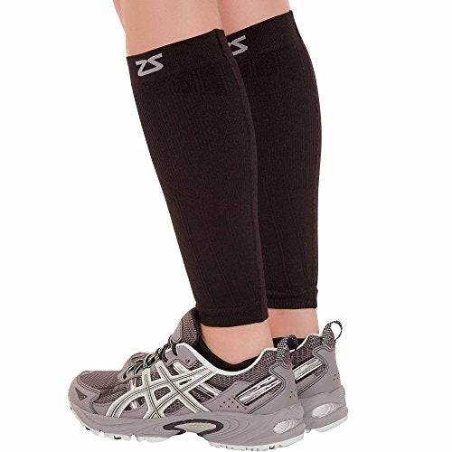 Zensah  Compression Leg Sleeves, Black, Large/X-Large