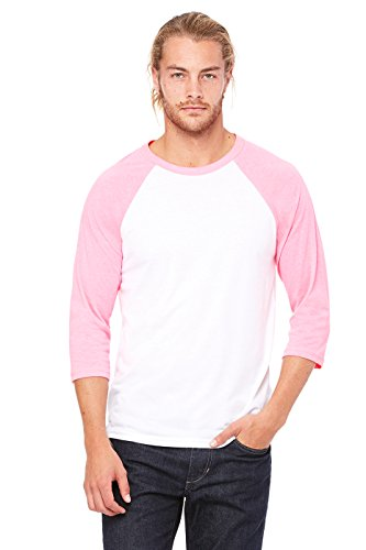 Bella + Canvas Mens Triblend 3/4 Sleeve Baseball T Shirt (3200) White/Neon Pink L