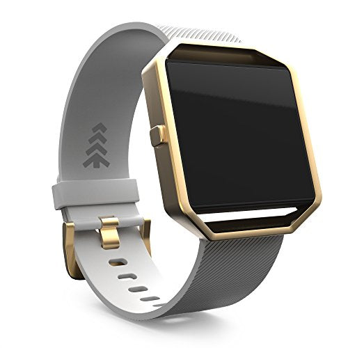 Teak - Silicone Replacement Wristband for Fitbit Blaze - Large, White and Gold