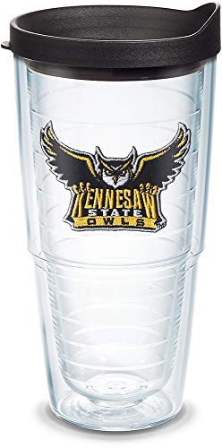 Tervis 1088819 Kennesaw State Owls Logo Tumbler with Emblem and Black Lid 24oz, Clear