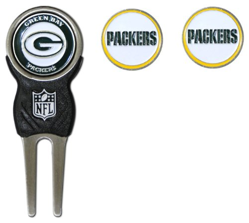 Team Golf NFL Green Bay Packers Divot Tool with 3 Golf Ball Markers Pack, Markers are Removable Magnetic Double-Sided Enamel
