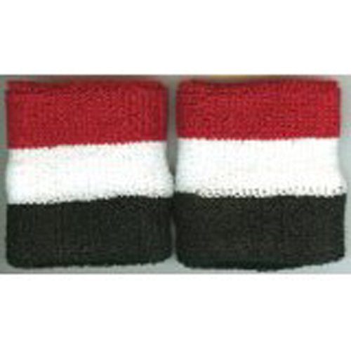 Striped Wristbands Pair White/Red/Black