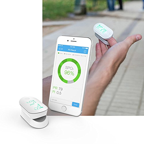 iHealth Air Wireless Fingertip Pulse Oximeter with Plethysmograph and Perfusion Index on the App, Measures Blood Oxygen Saturation, Perfusion Index, Pulse Rate