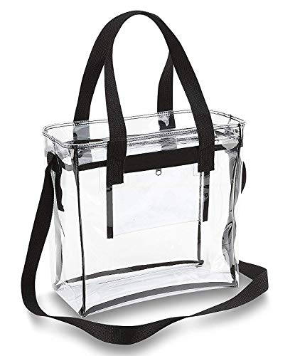 Clear Stadium Bag Clear Tote Bag NFL Stadium Approved 12 x 12 x 6, with Adjustable Shoulder Strap and Handles (Black)