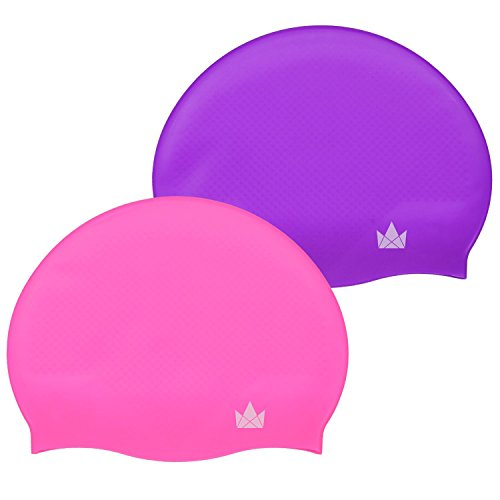 The Friendly Swede Silicone Swim Caps (2 Pack) (Hot Pink + Purple)