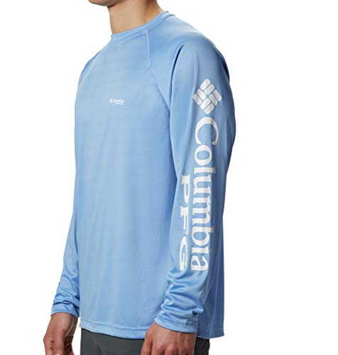 Columbia Menâ??S Pfg Terminal Tackle Long Sleeve Tee , White Cap/White Logo, Small