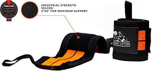 Wrist Wraps (1 Pair/2 Wraps) for Weightlifting/Cross Training/Powerlifting/Bodybuilding-Women & Men-Premium Quality Equipment & Accessories Avoid Injury During Weight Lifting-(Orange)-1 Year Warranty