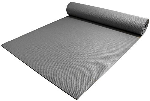 "YogaAccessories 1/4"" Thick High-Density Deluxe Non-Slip Exercise Pilates & Yoga Mat, Gray"
