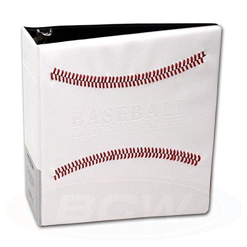 "White Stitched Baseball Card Collectors 3-Ringed Album With 3"" D-Rings"