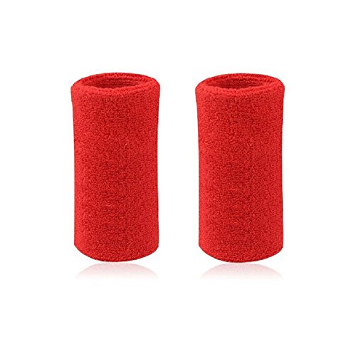 Mcolics 6' Inch Wrist Sweatband in 11 Athletic Cotton Wristbands Armbands (1 Pair) (Red)