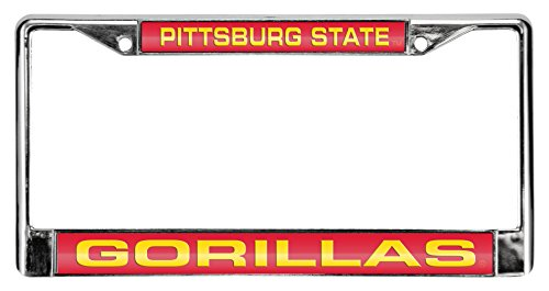 Rico Industries NCAA Pittsburgh State Gorillas Laser Cut Inlaid Standard Chrome License Plate Frame