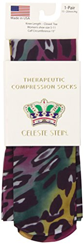 Celeste Stein Therapeutic Compression Socks, Rainbow Leopard, 15-20 mmhg, 1 Pair
