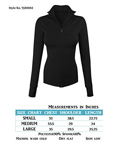 makeitmint Women's Comfy Zip Up Stretchy Work Out Track Jacket w/Back Pocket Small YJZ0002_02BLACK Black