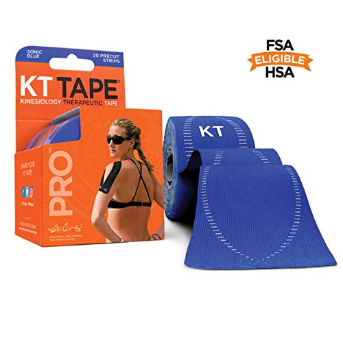 KT Tape Pro Kinesiology Therapeutic Sports Tape, 20 Precut 10 inch Strips, Sonic Blue, Latex Free, Water Resistance, Pro & Olympic Choice