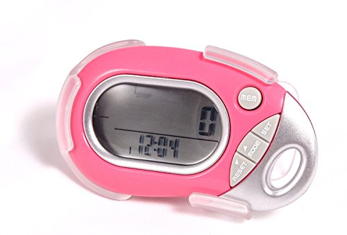 Pedusa PE-771 Tri-Axis Multi-Function Pocket Pedometer - Pink With Holster/Belt Clip