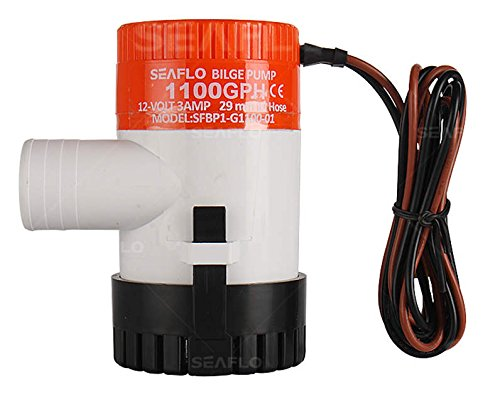 Seaflo Brand New 1100GPH 12V 3A Electric Submersible Bilge Pump with 1.125