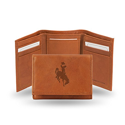 Rico Industries NCAA Wyoming Cowboys Embossed Leather Trifold Wallet, Tan