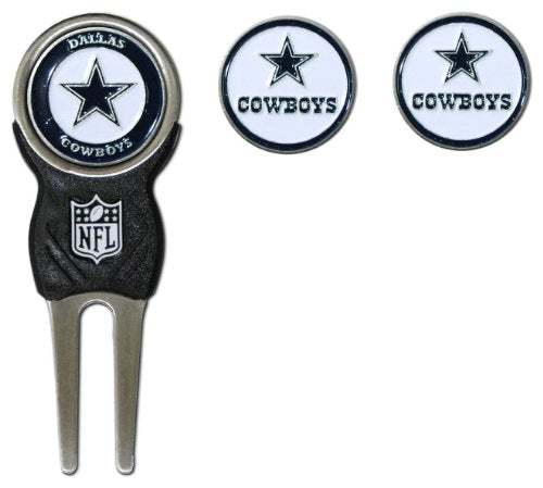 Team Golf NFL Dallas Cowboys Divot Tool with 3 Golf Ball Markers Pack, Markers are Removable Magnetic Double-Sided Enamel