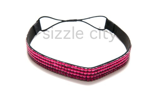 Sizzle City Rhinestone Headband/Elastic Stretch/Rhinestone Hair Band Hair Accessory (Hot Pink)