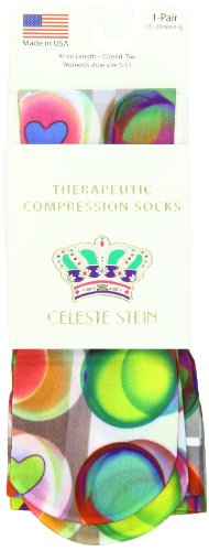 Celeste Stein Therapeutic Compression Socks, Hearts A Float, 15-20 mmhg, 1 Pair