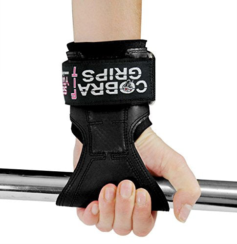Cobra Grips PRO Weight Lifting Gloves Heavy Duty Straps Alternative to Power Lifting Hooks for Deadlifts with Built in Adjustable Neoprene Padded Wrist Wrap Support Bodybuilding (FIT Black Rubber)