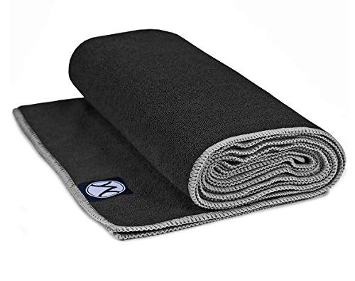 Youphoria 24-Inch-by-72-Inch Microfiber Yoga Towel, Black Towel/Gray Stitching