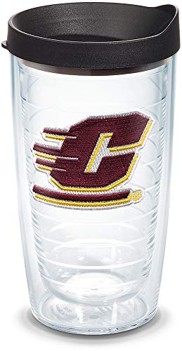 Tervis 1045344 Central Michigan Chippewas Logo Tumbler with Emblem and Black Lid 16oz, Clear