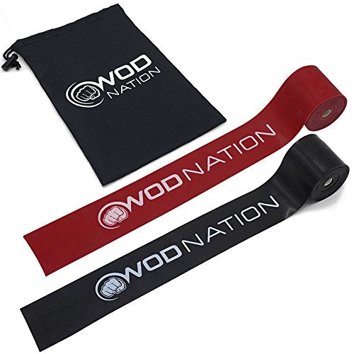 WOD Nation Muscle Floss Bands Recovery Band for Tack and Flossing Sore Muscles and Increasing Mobility - Stretch Band Includes Carrying Case (1 Black & 1 Red)