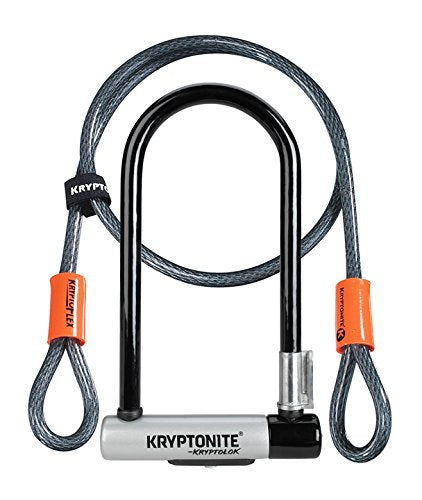 Kryptonite Kryptolok Standard 12.7mm U-Lock Bicycle Lock with FlexFrame-U Bracket & KryptoFlex 410 10mm Looped Bike Security Cable