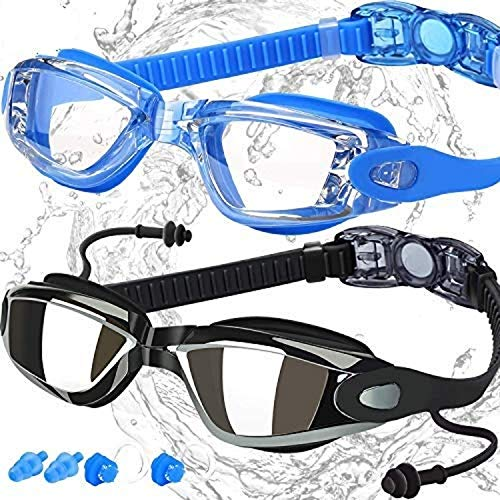 Swim Goggles, Pack of 2, Swimming Goggles for Adult Men Women Youth Kids Child, Triathlon Equipment, with Mirrored & Clear Anti-Fog, Waterproof, UV 400 Protection Lenses, Made by COOLOO, Black/Blue